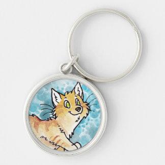 Cream Tabby Manx Kitty Silver-Colored Round Keychain