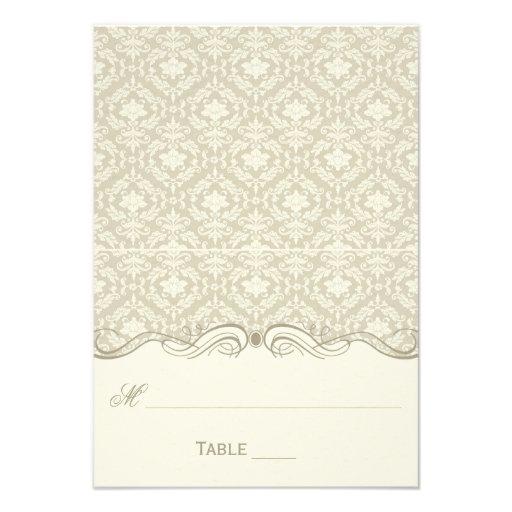 Cream Tan Ivory Damask Swirls Folded Place Cards