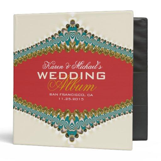 Cream Teal Gold Lace Elegant Wedding Album Binder