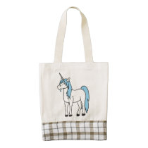Cream Unicorn with Light Blue Mane Zazzle HEART Tote Bag