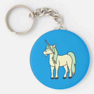 Cream Unicorn with Light Green Mane Keychain