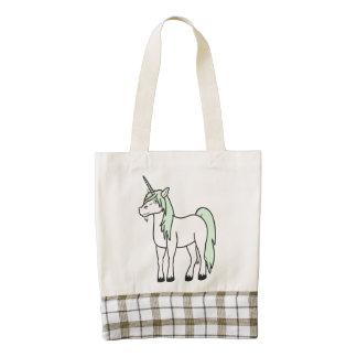 Cream Unicorn with Light Green Mane Zazzle HEART Tote Bag