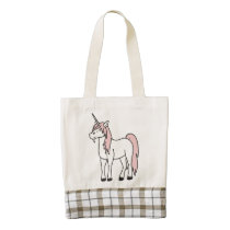 Cream Unicorn with Light Pink Mane Zazzle HEART Tote Bag