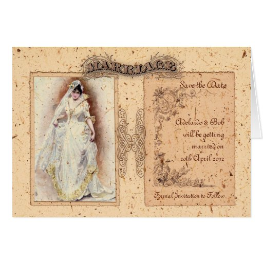 Cream Victoriana Save the Date Greeting Card