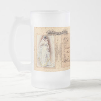 Cream Victoriana Wedding Commemoration 16 Oz Frosted Glass Beer Mug