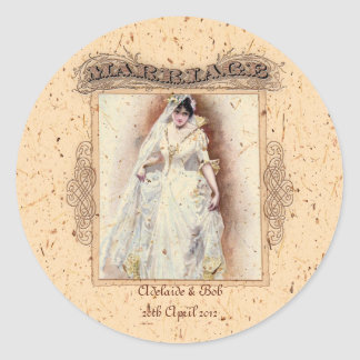Cream Victoriana Wedding Commemoration Classic Round Sticker