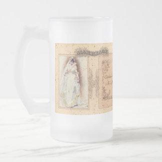 Cream Victoriana Wedding Commemoration 16 Oz Frosted Glass Beer Mug