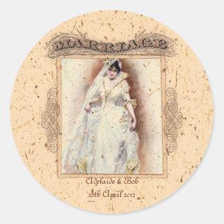 Cream Victoriana Wedding Commemoration Stickers