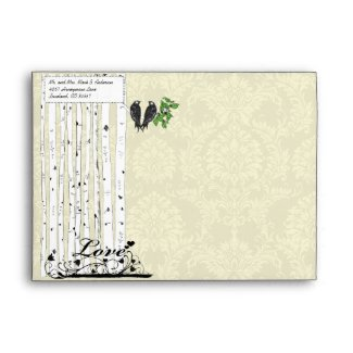 Cream Vintage Birds Damask Wedding Envelopes envelope