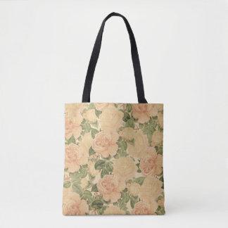 Cream Vintage Roses Tote Bag