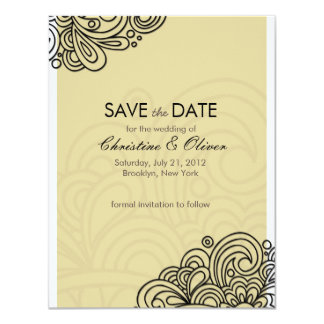 Cream Vintage Swirl Save the Date Card
