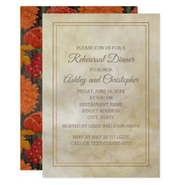 Wedding Themed Cream w/ Red Orange Floral Rustic Wood Rehearsal Card