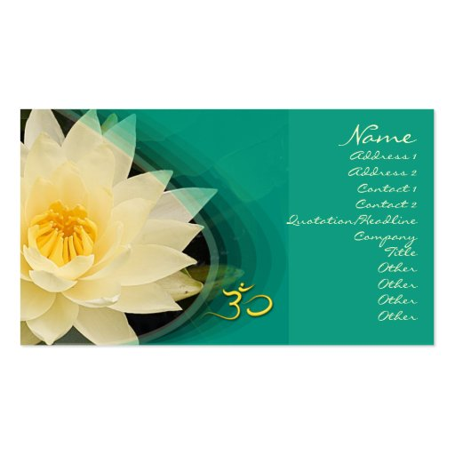 Cream water lilly, om Business card