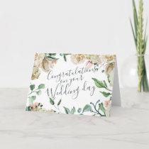 Cream Watercolor Floral Congratulations Wedding Card