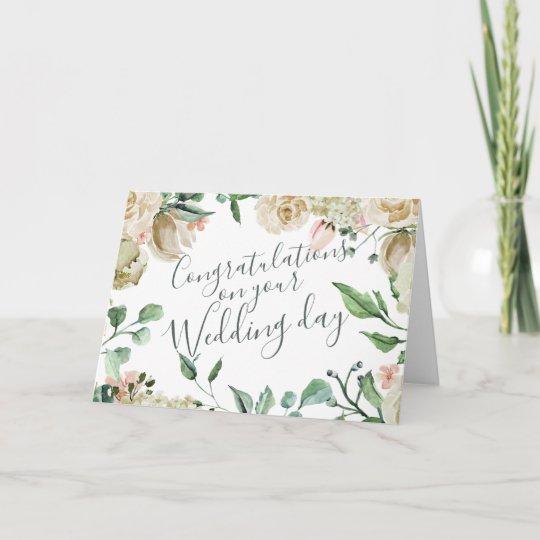 Cream Watercolor Floral Congratulations Wedding Card Zazzle Com