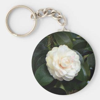 Cream white camellia flower keychain