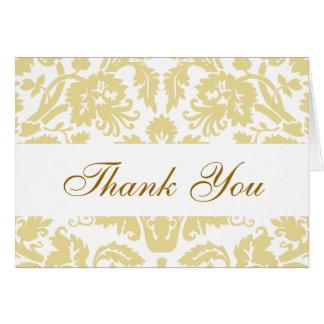 Cream White Damask Wedding Thank You Card