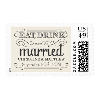 Cream White Parchment Rustic Country Wedding Stamp