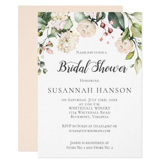 Cream White Pink Watercolor Floral Bridal Shower Invitation