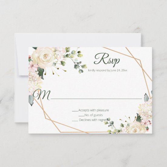 Cream White Pink Watercolor Floral | RSVP Card