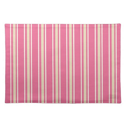 cream white pinstripes on girly pink place mat