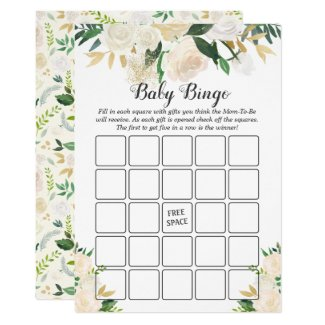 Cream White Rose Floral Baby Shower Bingo Game Card