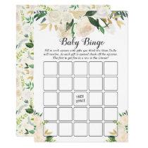 Cream White Rose Floral Baby Shower Bingo Game Card