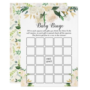 Toddler & Baby themed Cream White Rose Floral Baby Shower Bingo Game Card