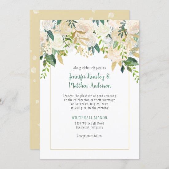 Cream White Roses Cascade Wedding Invitation