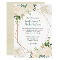 Cream White Roses Geometric Gold Glitter Invitation