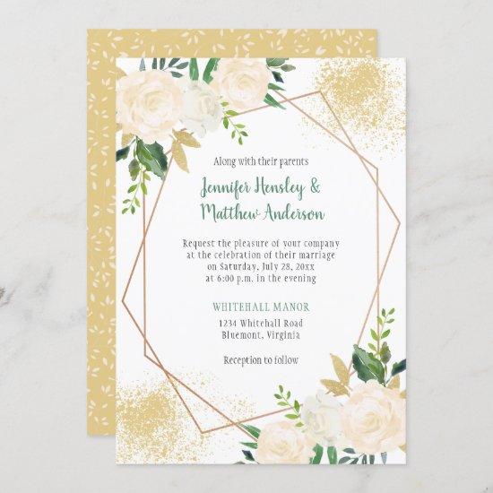 Cream White Roses Geometric Gold Glitter Invitation