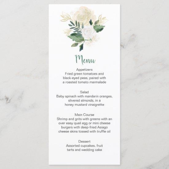 Cream White Roses Glitter Greenery Menu Rack Cards