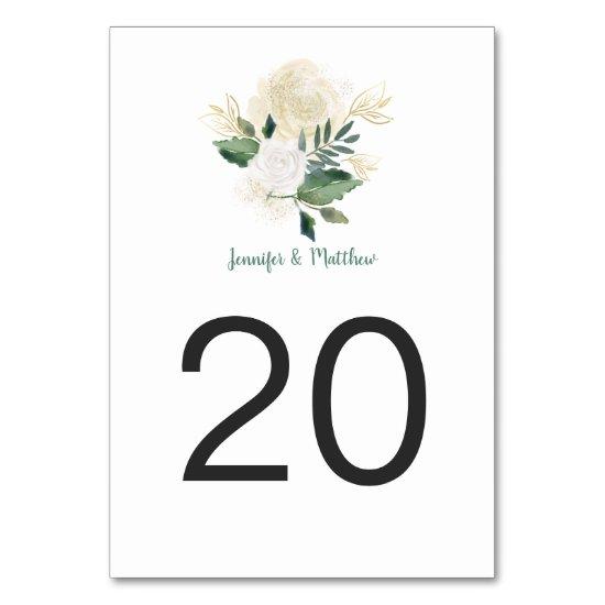 Cream White Roses Glitter Greenery Table Cards