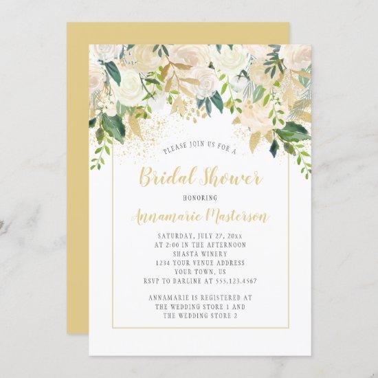 Cream White Roses Gold Accents Bridal Shower Invitation