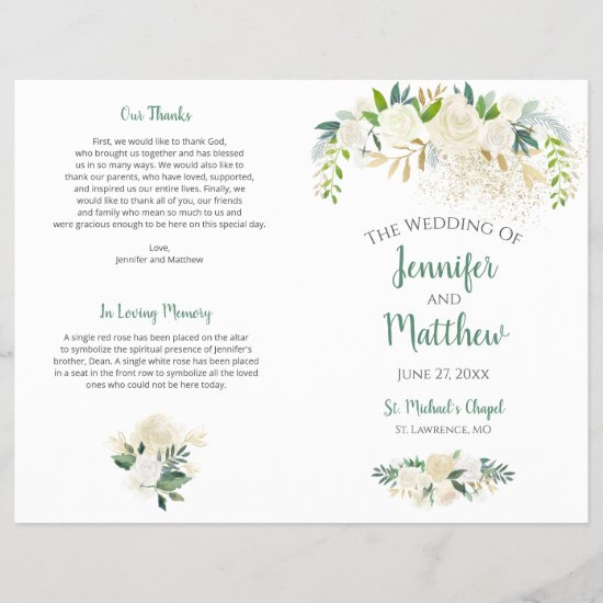 Cream White Roses Gold Glitter Wedding Program