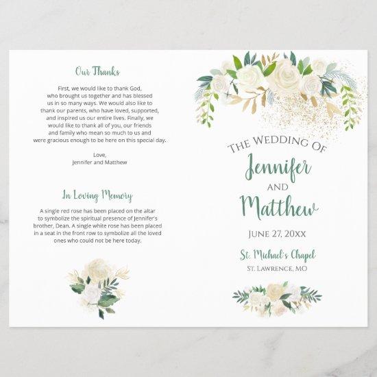 Cream White Roses Gold Glitter Wedding Program
