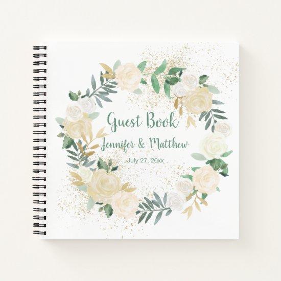 Cream White Roses Gold Glitter Wreath Guest Book
