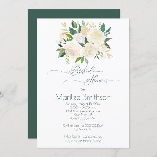 Cream White Roses Gold Green Leaves Bridal Shower Invitation