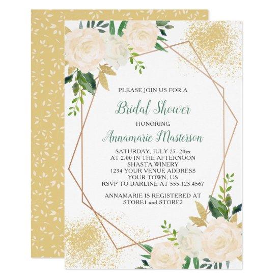 Cream White Roses Greenery Geometric Bridal Shower Invitation