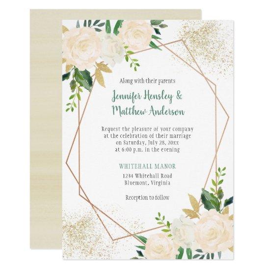 Cream White Roses Modern Geometric Gold Glitter Invitation
