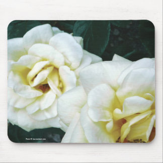 Cream / White & Yellow Roses Floral Mousepad