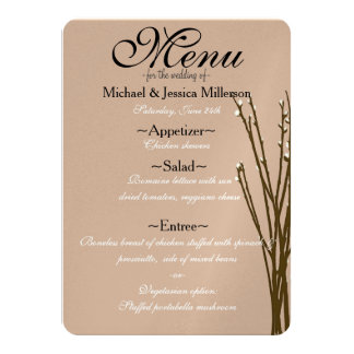 Cream Willow Wedding Menu Card