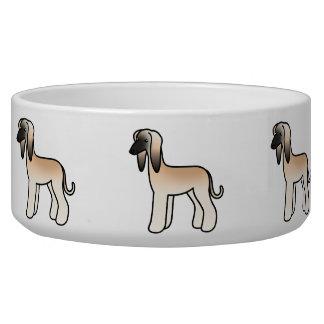 Cream With Black Mask Afghan Hound Cartoon Dog Bowl