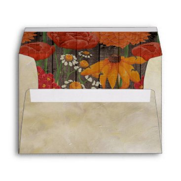 Wedding Themed Cream with Red Orange Floral Rustic Brown Wood Envelope