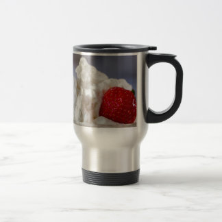 Cream with strawberries in a glass bowl travel mug