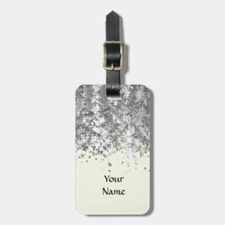 Cream yellow and faux glitter personalized luggage tag