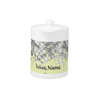 Cream yellow and faux glitter personalized teapot
