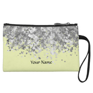 Cream yellow and faux glitter personalized wristlet wallet