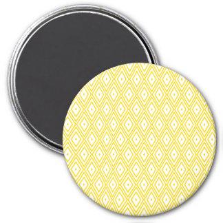 Cream Yellow and White Diamond Pattern 3 Inch Round Magnet
