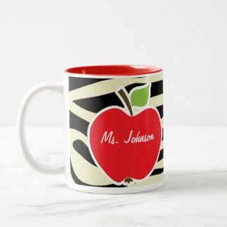 Cream Zebra Stripes Animal Print; Apple Coffee Mug